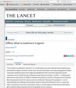 Lancet article by Horton