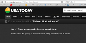 USA Today search for Horton Lancet